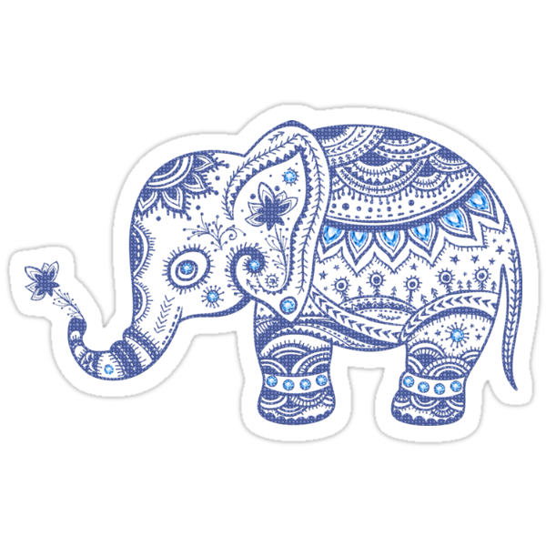 Quot Cute Navy Blue Retro Floral Elephant Quot Stickers By