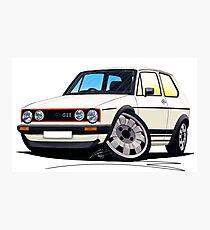 VW Golf (Mk1) GTi White Photographic Print