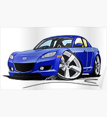 Mazda RX8 Blue Poster