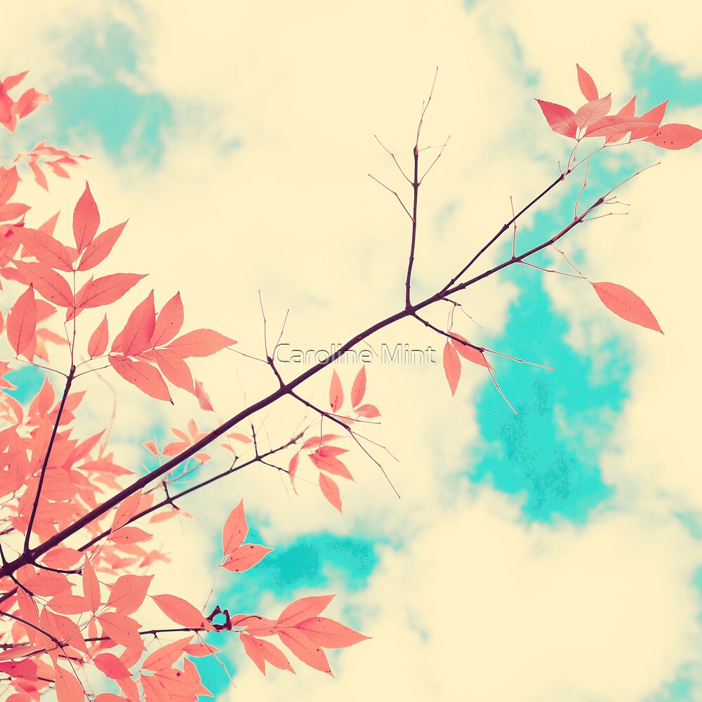Pink fall leafs on retro vintage sky  by Caroline Mint