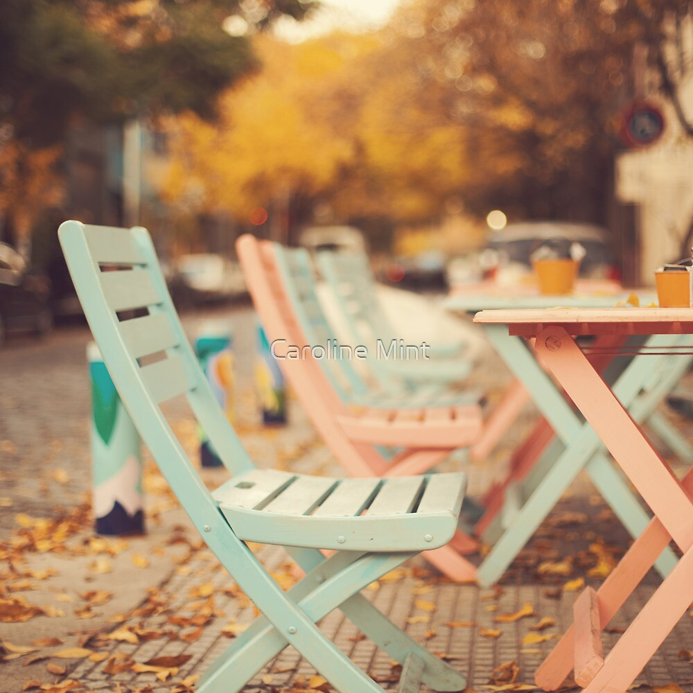 Dream Autumn (Pink and blue coffee shop chairs on retro and vintage fall) by Caroline Mint