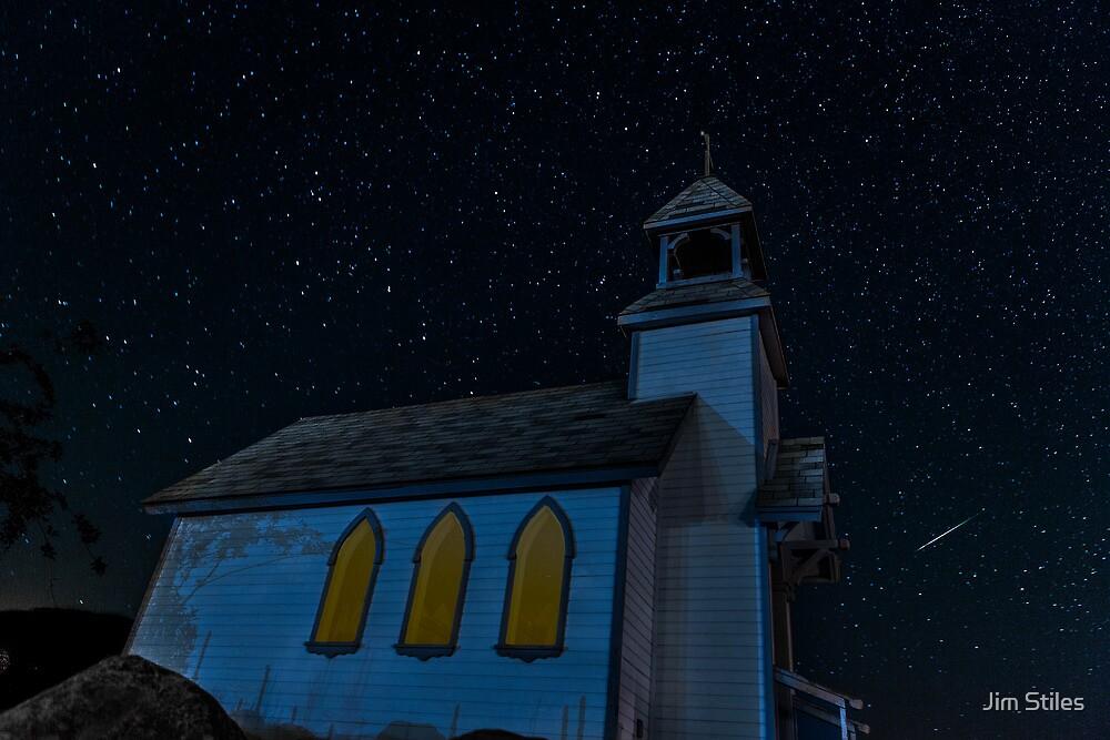 Little Chapel on the Hill Perseid Meteor Shower by Jim Stiles