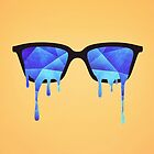 Abstract crystal ice blue triangle (low poly) / Hipster Nerd Glasses by badbugs