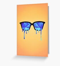 Abstract crystal ice blue triangle (low poly) / Hipster Nerd Glasses Greeting Card