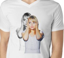 Emma Faded Double Print Mens V-Neck T-Shirt