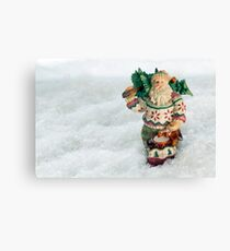 Father Christmas Old Fashioned in Snow Canvas Print