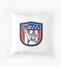 Independence Day Greeting Card-Statue of Liberty Holding Torch Throw Pillow
