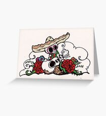 Day of the dead skull mariachi dia de los muertos drawing greeting mariachi triptic guitar greeting card m4hsunfo