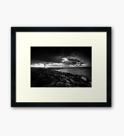 Port Fairy lighthouse moving low clouds sunrise Framed Print