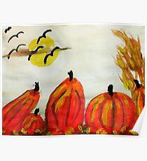 Pumpkin Patch, watercolor Poster
