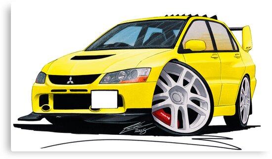 Mitsubishi Evo IX Yellow by yeomanscarart