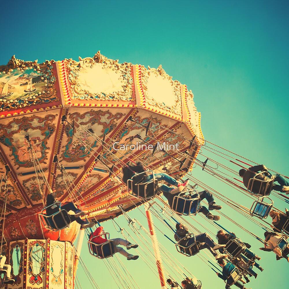 Vintage Chain Swing Ride on Blues Sky by Caroline Mint