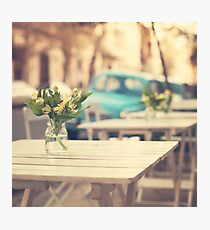 I'm gonna miss you a lot (Retro Pastel Coffee Shop in the Streets) Photographic Print