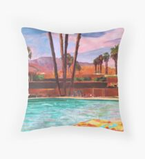 The Palm Springs Pool Throw Pillow