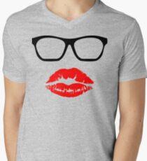 Nerd Glasses and Kiss Mens V-Neck T-Shirt
