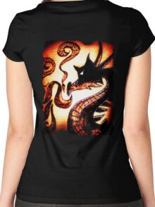 Flames and Thunder Dragon Women's Fitted Scoop T-Shirt