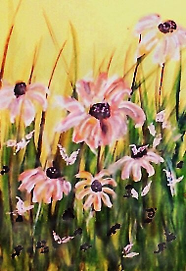 My wonderful Crazy daisies, watercolor by Anna  Lewis, blind artist