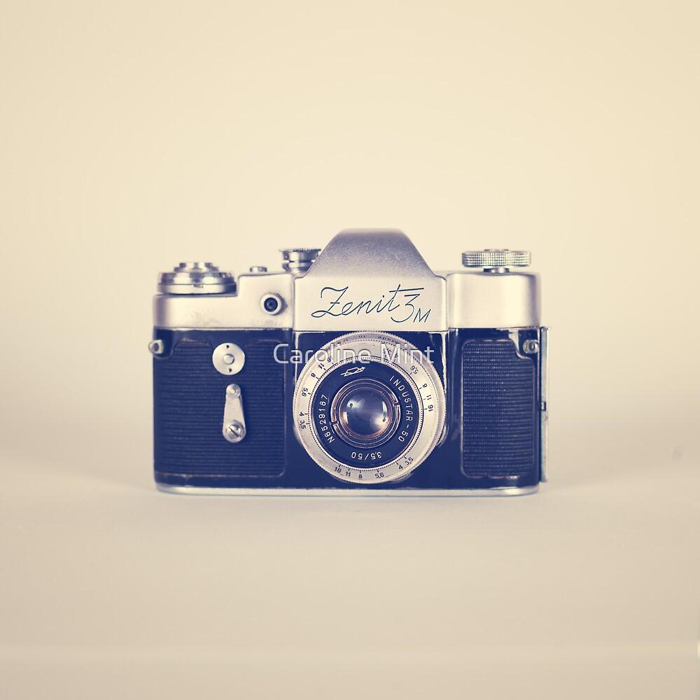 Retro - Vintage Black Camera on Beige Background  by Caroline Mint