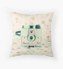 Retro - Vintage Mint Camera on Beige Pattern Background  Throw Pillow