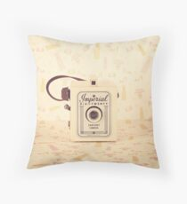 Retro - Vintage Pastel Camera on Girly Pattern Background  Throw Pillow