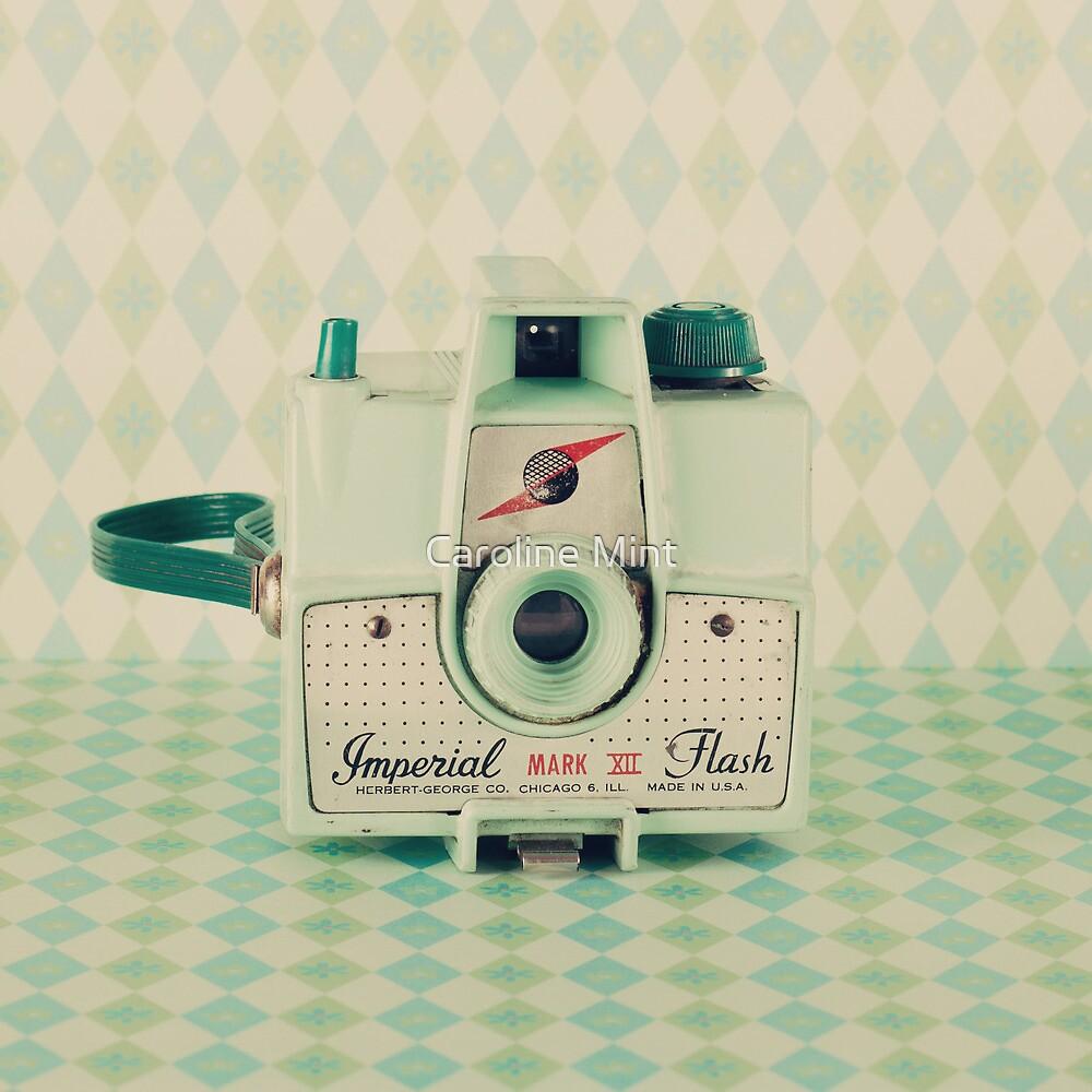 Retro - Vintage Mint Camera on Pattern Background  by Caroline Mint