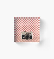 Retro - Vintage Black Camera on Red Chequered Pattern Background  Acrylic Block