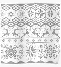 Gray Christmas knitted Pattern Poster
