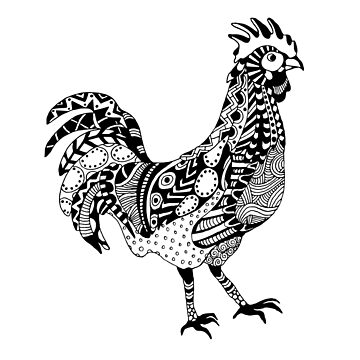 Rooster Boho Illustration by LidiaP