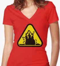 Beware of the Graboid! Women's Fitted V-Neck T-Shirt