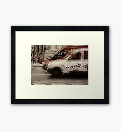 love london cabbies Framed Print