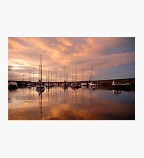 Fisherrow Harbour at dusk, East Lothian, Scotland Photographic Print
