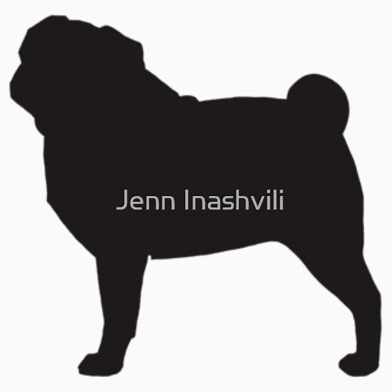 Quot Pug Silhouette Quot Stickers By Jenn Inashvili Redbubble