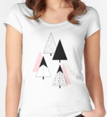 Pine Trees Pink Women's Fitted Scoop T-Shirt