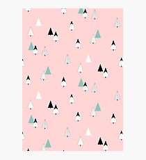 Pine Trees Pink Photographic Print