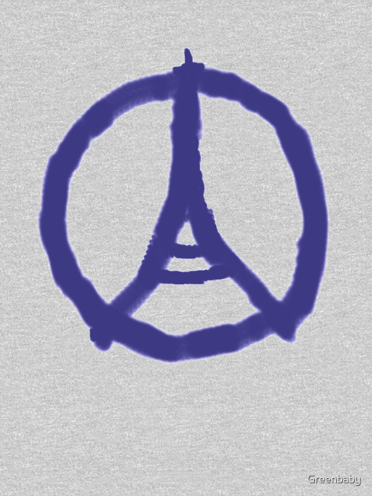 Eiffel Tower Peace Sign Hand Painted Unisex T Shirt By Greenbaby