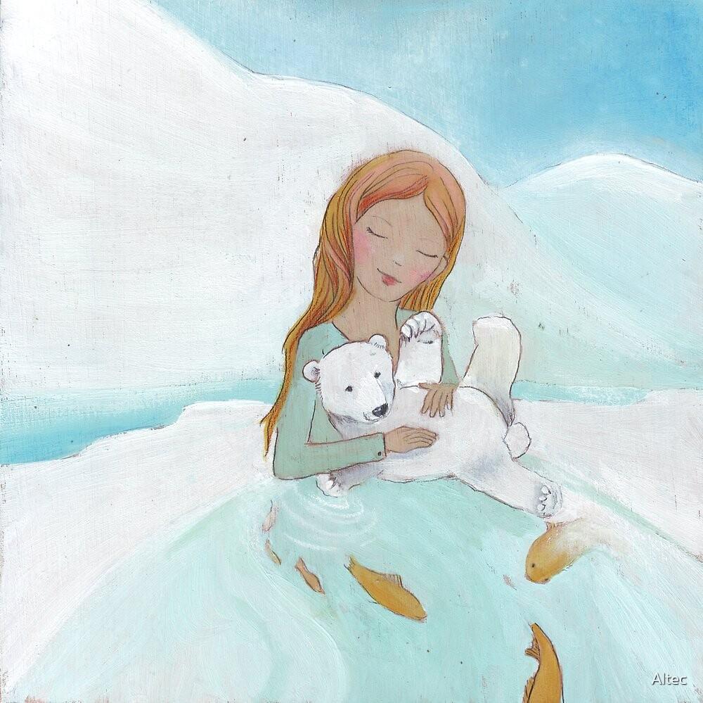 Girl loves baby Polar Bear by Helga McLeod
