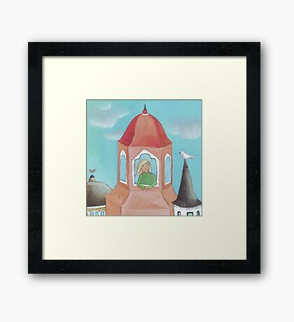Girl and bird in the Old City, originally acrylic Framed Print
