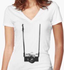 Digital camera isolated on white background DSLR on T-Shirt Women's Fitted V-Neck T-Shirt