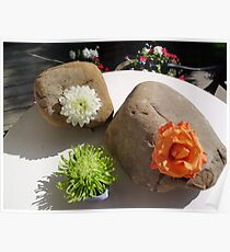 Zen Rock Garden Decorations with Fresh Flowers Poster