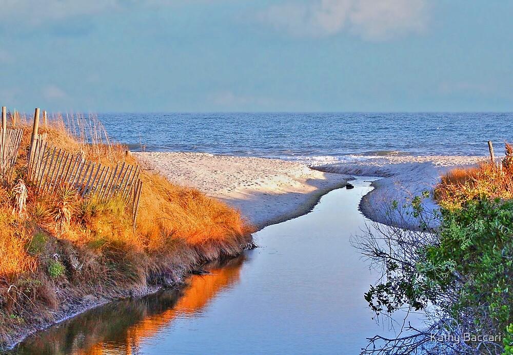 Sun Slowly Setting On The Beach by Kathy Baccari