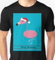 Merry Christmas Pink Flamingos with Santa Hat Unisex T-Shirt