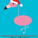 Merry Christmas Pink Flamingos with Santa Hat by ValeriesGallery