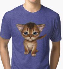 Cat-a-clysm: Abyssinian kitten, blue tiger pattern. Tri-blend T-Shirt