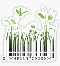 Green Barcode Sticker