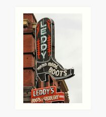 Leddy , Hand Made Boots Art Print