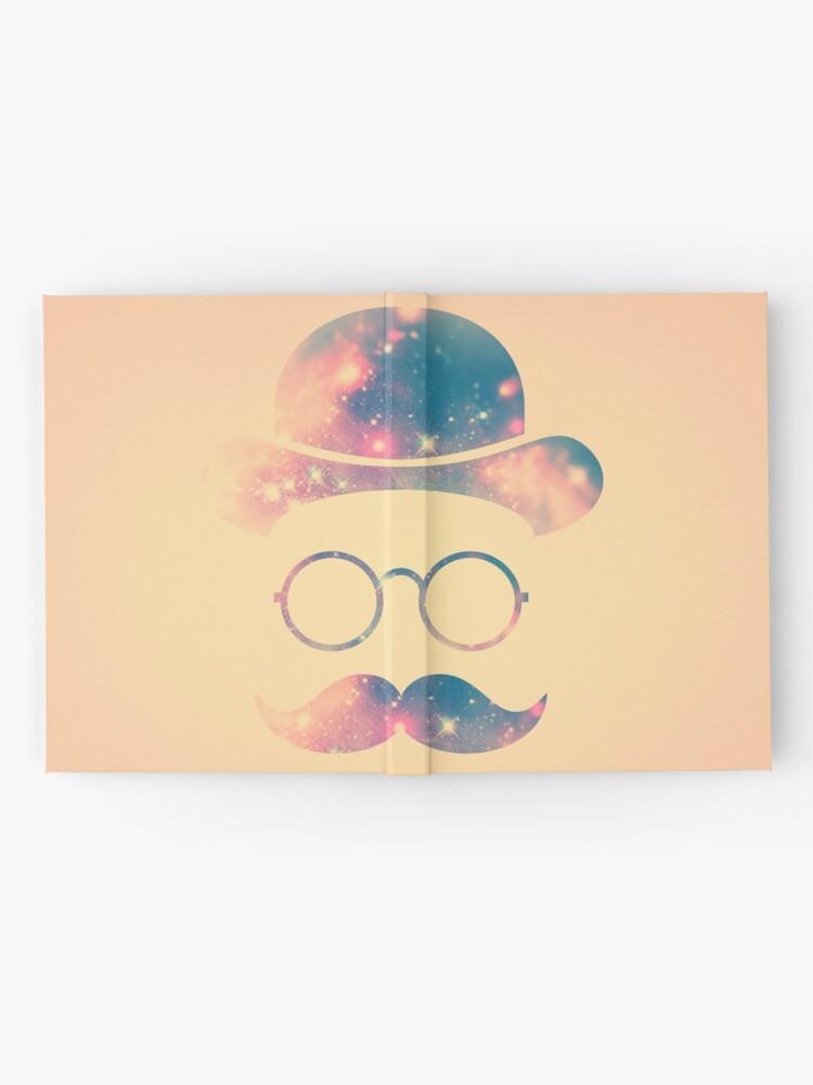 Alternative Ansicht von Retro Gesicht mit Schnurrbart und Brille / Universum - Galaxy Hipster (GOLD)) Notizbuch