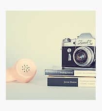 Vintage Camera and Retro Telephone  Photographic Print