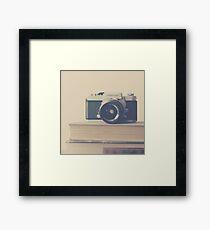 Vintage Camera and Books  Framed Print