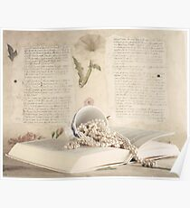 Vintage Still Life with Pearls and Book  Poster