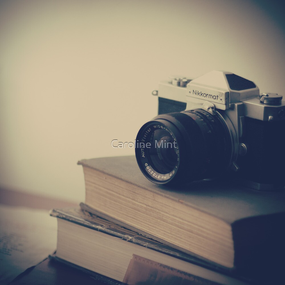 Vintage Camera and Books  by Caroline Mint